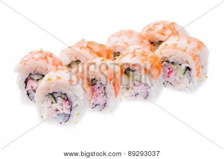 Prawn, soft crab, cucumber and cream cheese rolls isolated on white background