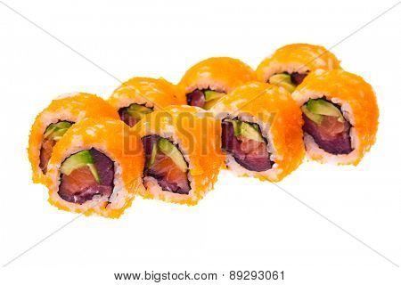 Salmon, avocado, tuna and masago orange rolls isolated on white background