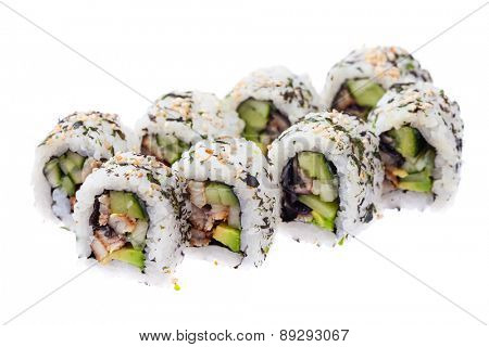Eel, cucumber and avocado rolls isolated on white background