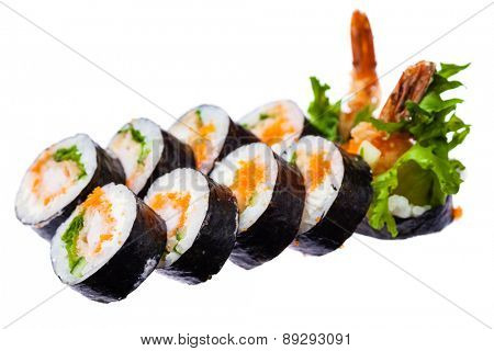 Prawn, cream cheese, masago and japanese bread brunch rolls isolated on white background