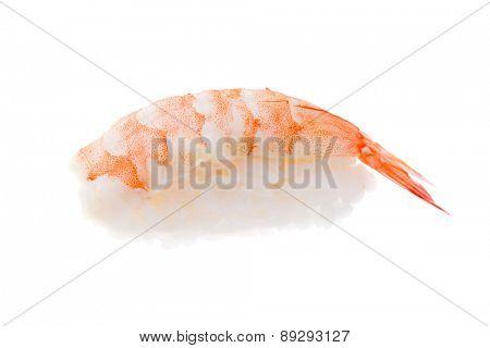 Traditional prawn sushi isolated on white background