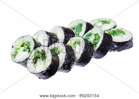 Seaweed and cheese roll isolated on white background