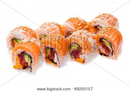 Salmon, prawn, tuna, avocado, cream cheese and masago rolls isolated on white background