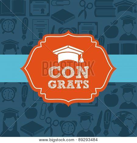 Graduation design over blue backgrorund vector illustration
