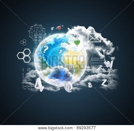 Earth on abstract blue background with icons