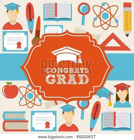 Graduation design over beige backgrorund vector illustration