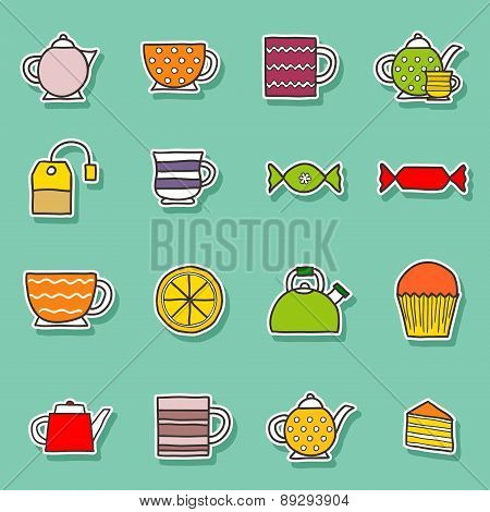 Set of hand drawn teatime stickers