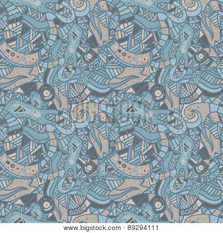 Hand drawn seamless pattern with wave, curl and triangle. Vector illustration