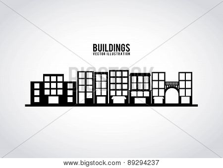 Buildings design over gray background vector illustration
