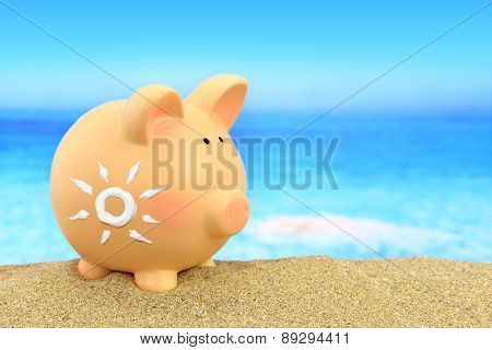 Piggy bank with sun shaped sunscreen