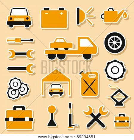 Set of car repair stickers