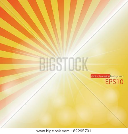 Empty red-yellow Color Background With Sunburst at the left side.