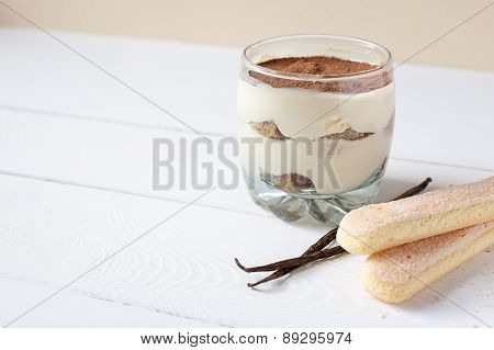 Italian dessert tiramisu in the glass