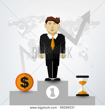 A Successful Man in Suit on Pedestal