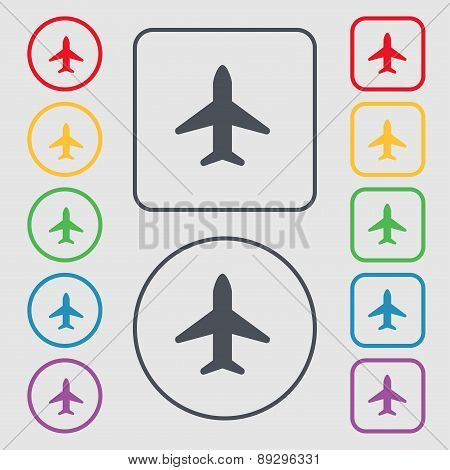 Airplane, Plane, Travel, Flight Icon Sign. Symbol On The Round And Square Buttons With Frame. Vector