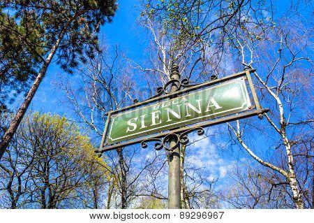 Sienna street sign in Krakow, Poland, Europe