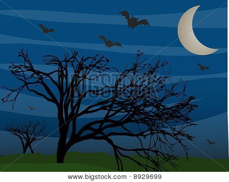 Bats Flying By Leafless Trees On Foggy Mysterious Night