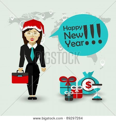 Happy New Year Wishes of Businesswoman .
