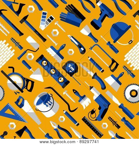 Color Seamless Pattern Of Building Tools
