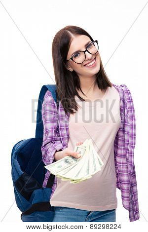 Young femael student giving money on camera over white background