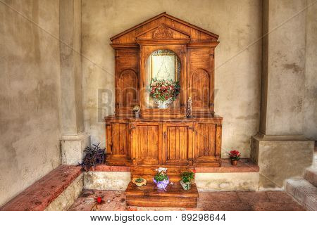 Wooden Altar In An Italian Church