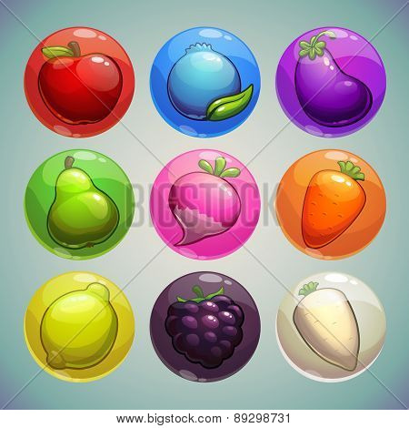 Set Of Colorful Bubbles With Fruits And Vegetables