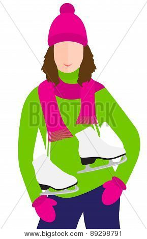 Woman With Ice Skates vector