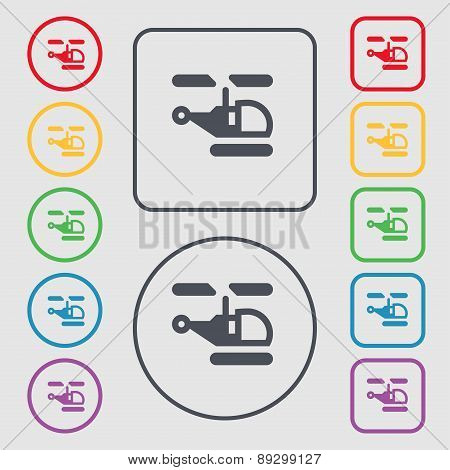 Helicopter Icon Sign. Symbol On The Round And Square Buttons With Frame. Vector
