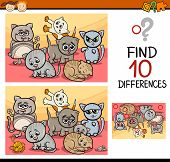 image of brain teaser  - Cartoon Illustration of Finding Differences Educational Game for Preschool Children with Cute Kittens - JPG