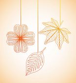 picture of obituary  - autumn flowers design over orange  background vector illustration - JPG