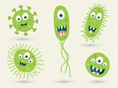 image of germs  - A set of cute green germ characters - JPG
