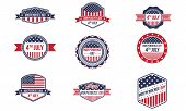 picture of packing  - This retro badges pack is great to used as an elements on your 4th of July design concept - JPG