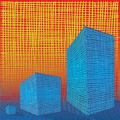 foto of grids  - Hatched boxes grid abstract colourful contrast composition - JPG