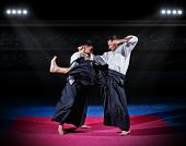 pic of aikido  - Two aikido fighters at sports hall - JPG