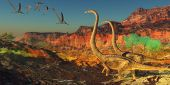 picture of pterodactyl  - A flock of Pterosaurs fly past two Omeisaurus dinosaurs during the Jurassic Era - JPG