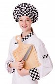 picture of pinafore  - Female chef isolated on white - JPG