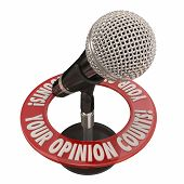 stock photo of soliciting  - Your Opinion Counts words in 3d words around a microphone to illustrate comments - JPG