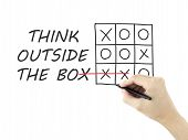 stock photo of thinking outside box  - think outside the box drawn by man - JPG