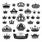 foto of crown  - Set of various crowns isolated on white vector illustration - JPG