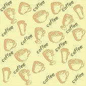 picture of coffee coffee plant  - pattern with sprouts coffee beans coffee leaves coffee berries a cup of coffee and eco - JPG