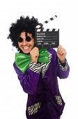 stock photo of clapper board  - Funny man in wig with clapper board isolated on white - JPG