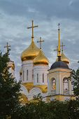 picture of trinity  - Orthodox church Trinity Cathedral in Bryansk a summer evening at sunset  - JPG