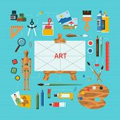 foto of  art  - Flat design vector illustration fine art concept with icons of art supplies - JPG