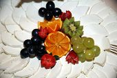 pic of fruit platter  - Fresh handmade cow cheese with fruits as gourmet specialities - JPG