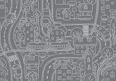pic of tram  - Seamless vector background pattern with streets - JPG
