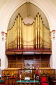 pic of pipe organ  - Massive old pipe organ in a church in St John New Brunswick Canada - JPG