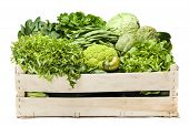 stock photo of escarole  - Box full of fresh vegetables isolated on a white background - JPG
