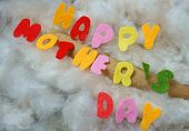 foto of special day  - Happy mothers day i love you mom message idea from colorful fiber letter red heart on white cotton background abstract concept mother - JPG