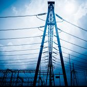picture of voltage  - High voltage towers with sky background - JPG