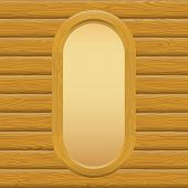 pic of oval  - Wooden Oval Frame with Empty Paper on a Log Wall - JPG